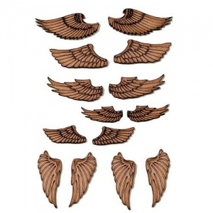 Sheet of Mini MDF Wood Wings - Style 1