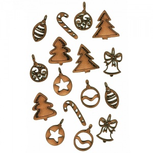 Sheet of Mini MDF Christmas Wood Shapes - Mix 2