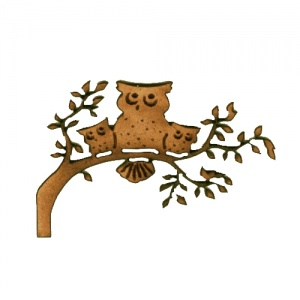 Owl Family on Branch MDF Wood Shape