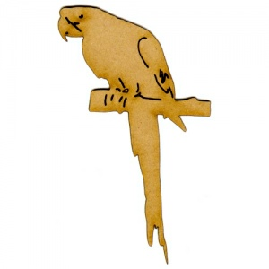 Parrot on Perch MDF Wood Bird Shape