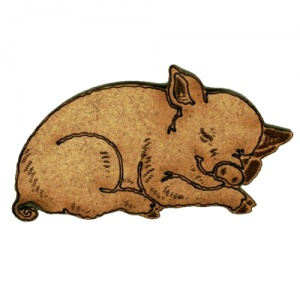 Sleepy Piglet - MDF Wood Shape Style 7