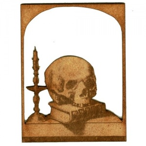 Skull by Candle Lit Window - MDF Wood Shape