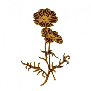 Poppy Flower Duo MDF Wood Shape - Style 3