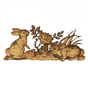 Playful Rabbits & Rose Scene MDF Wood Shape
