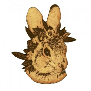 Rabbit Head with Flowers MDF Wood Shape