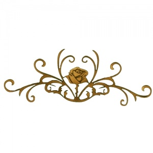 Rose with Fancy Vine Scrolls - Flora & Fauna Flourish Style 21