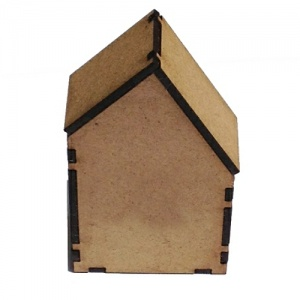 Block Style MDF House Kit - Short with Wonky Roof