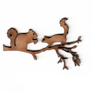 Squirrels on a Branch MDF Wood Shape