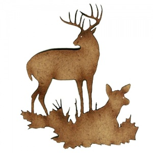 Deer Duo MDF Wood Shape Style 8