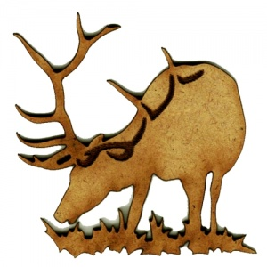 Grazing Stag MDF Wood Deer Shape Style 17