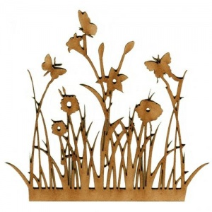 Wild Flowers & Butterflies MDF Wood Shape