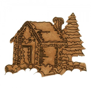 Christmas Cabin Scene - MDF Wood Shape