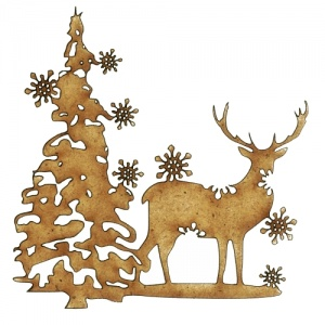 Winter Deer Scene Style 3 - MDF Wood Shape