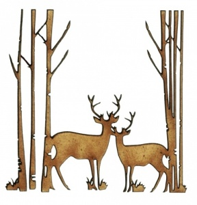 Winter Deer Scene Style 6 - MDF Wood Shape