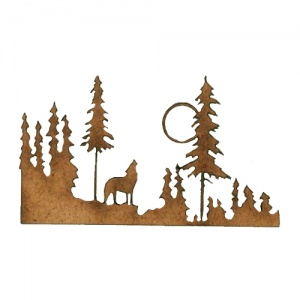Winter Tree Scene MDF Wood Shape - Style 1