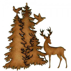 Winter Fir Trees, Deer & Bird Scene - MDF Wood Shape