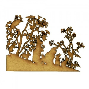 Rabbits & Birds MDF Wood Corner Embellishment - Style 54