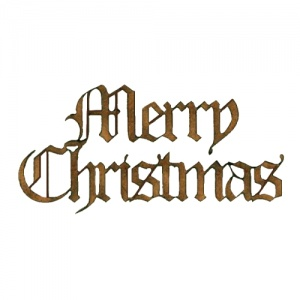 merry christmas wood words cut out in olde english font. Black Bedroom Furniture Sets. Home Design Ideas
