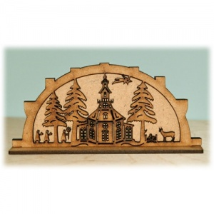 3D Winter Church & Forest MDF Wood Scene
