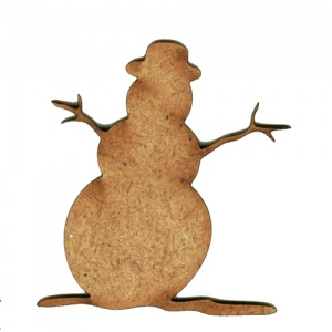 Snowman with Twiggy Arms - MDF Wood Shape