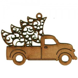 Vintage Truck with Filigree Tree - MDF Wood Shape