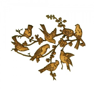 Songbirds in Spring Branches MDF Wood Shape