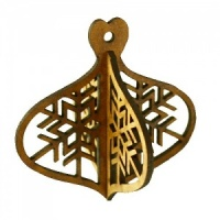 3D Snowflake Bauble MDF Wood Shape - Style 2