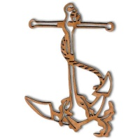Anchor & Rope Outline MDF Wood Shape Style 2