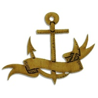 Anchor & Banner MDF Wood Shape Style 6