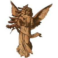 Vintage Angel with Christmas Tree - MDF Wood Shape