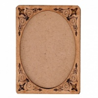 Plain ATC Wood Blank with Engraved Fleur De Lis Frame