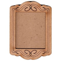 Shaped ATC Wood Blank with Engraved Flourish Frame