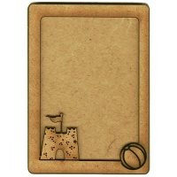 Plain ATC Wood Blank with Beach Ball & Sandcastle Frame