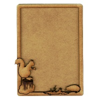 Plain ATC Wood Blank with Squirrel & Hedgehog Frame
