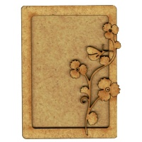Plain ATC Wood Blank with Butterfly & Wildflower Frame