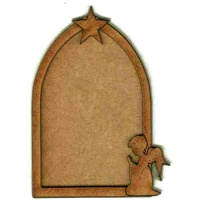 Gothic Arch ATC Wood Blank with Angel & Star Frame