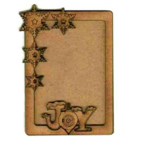 Rounded Rectangle ATC Wood Blank with Snowflake Joy Frame
