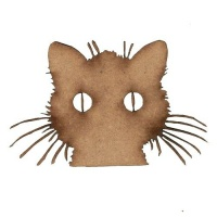 Cat Face with Whiskers - MDF Wood Shape
