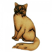 Long Haired Cat Sitting MDF Wood Shape Style 5
