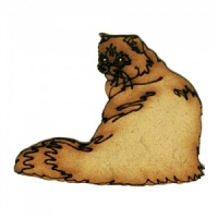 Long Haired Cat Sitting MDF Wood Shape Style 13