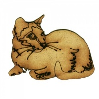 Short Haired Cat Resting MDF Wood Shape Style 17