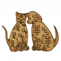 Folk Art Cat and Dog MDF Wood Shape Style 22