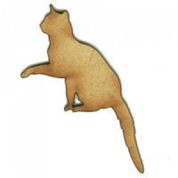 Pawing Cat Silhouette - MDF Wood Shape