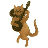 Dancing Cat with Banjo Wood Shape Style 37