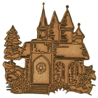 Village Church at Christmas - MDF Wood Shape