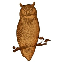 Crested Owl on Branch - MDF Wood Shape