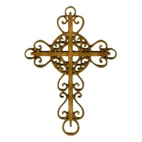 Curlicue Flourish Cross - MDF Wood Shape Style 1
