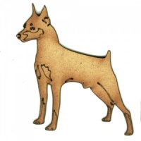 Doberman Pinscher - MDF Wood Dog Shape