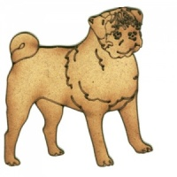 Pug MDF Wood Dog Shape Style 18