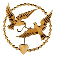 Dove Duo Heart Wreath MDF Wood Bird Shape